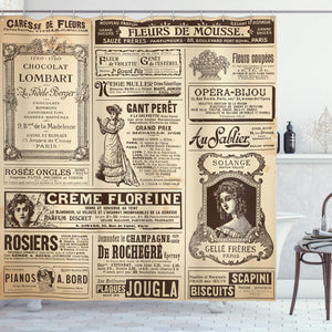 "Ambesonne Paris Shower Curtain, Vintage Old Historic Newspaper Journal French Paper Lettering Art Design, Cloth Fabric Bathroom Decor Set with Hooks, 75"" Long, Brown Caramel"