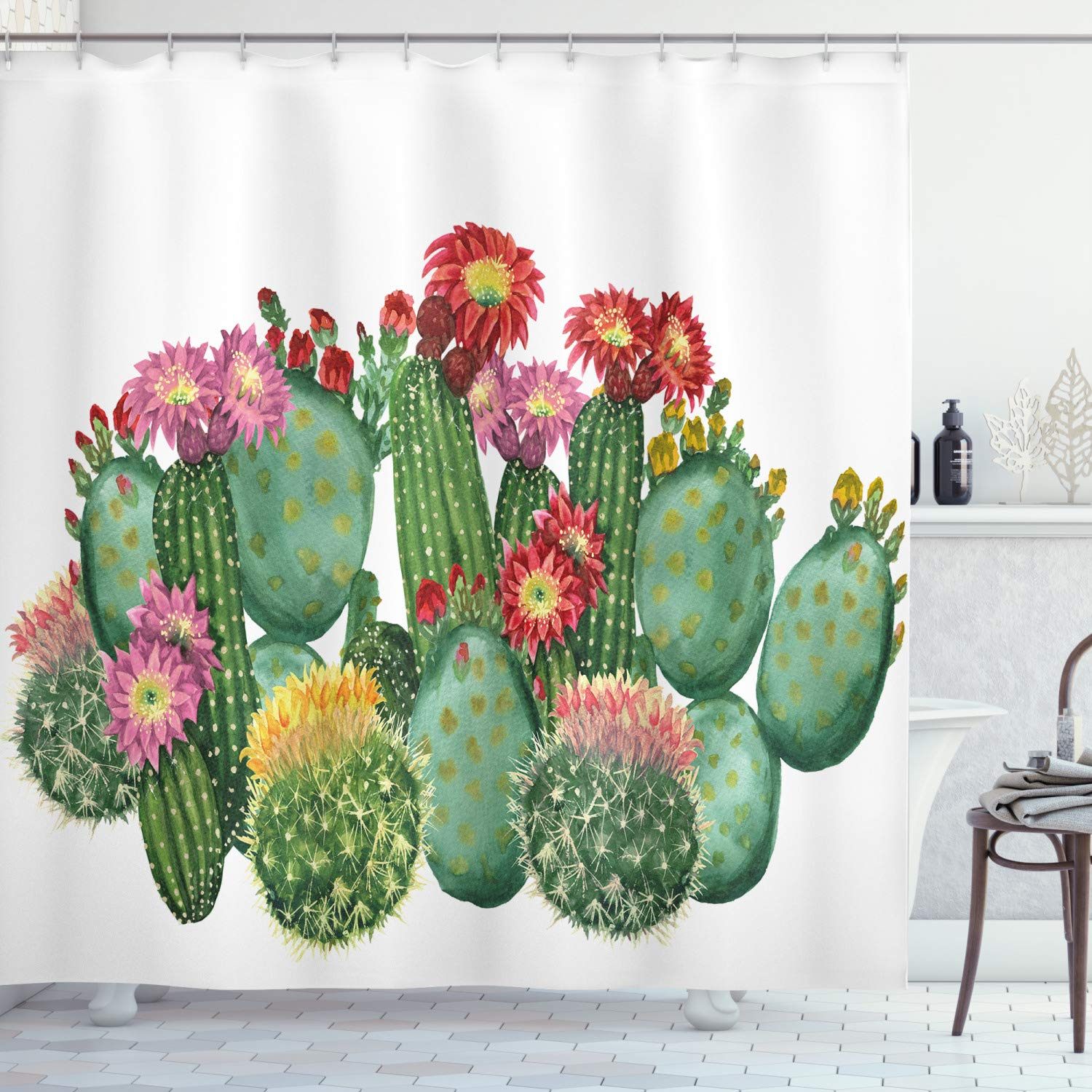 "Ambesonne Cactus Shower Curtain, Saguaro Cask Hedge Hog Prickly Pear Opuntia Tropical Botany Garden Plants Print, Cloth Fabric Bathroom Decor Set with Hooks, 75"" Long, Multicolor"