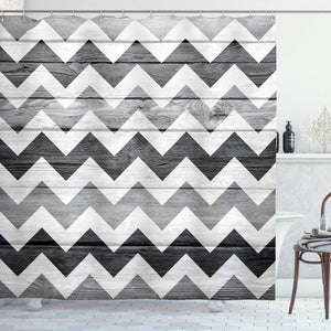 Ambesonne Geometric Illustration Decorations Collection, Chevron Pattern on Wood Background Design, Polyester Fabric Bathroom Shower Curtain Set with Hooks, 75 Inches Long, Black Grey WhiteSmoke
