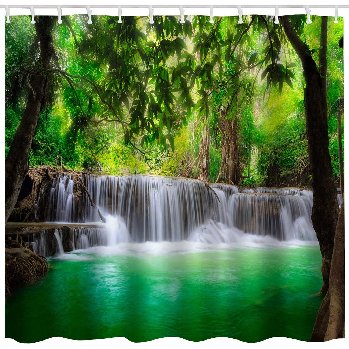 BROSHAN Green Lake Shower Curtain Set, Summer Waterfall in Forest Woodland Nature Jungle Scenery Art Printing,Waterproof Fabric Bathroom Decor Curtain with Hooks,Green Brown White, 72x 72 inch