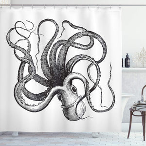 Ambesonne Nautical Decorations Collection, Sealife Sea Monster Octopus Kraken with Tentacles, Polyester Fabric Bathroom Shower Curtain Set with Hooks, Black and White