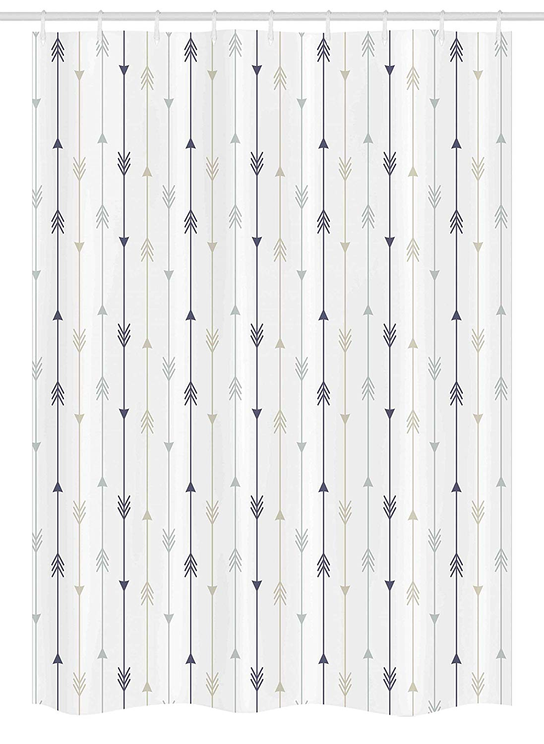 Ambesonne Arrows Stall Shower Curtain, Vertical Geometric Monochrome Hipster Line Pattern With Vintage Arrows, Fabric Bathroom Decor Set with Hooks, 54 W x 78 L Inches, Dimgrey Tan and White