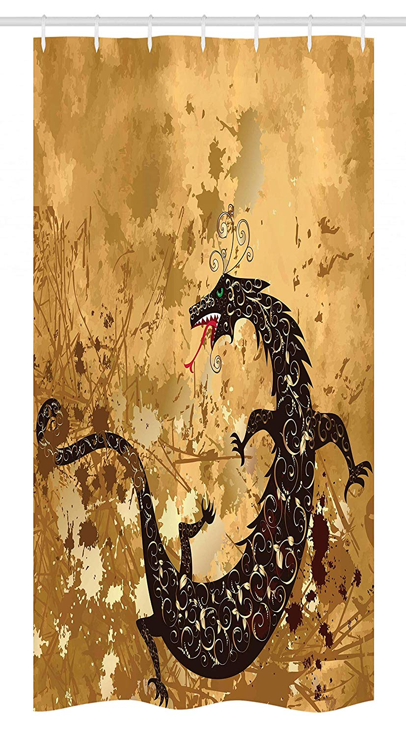 Ambesonne Dragon Stall Shower Curtain, Reptile Dragon Grunge Floral Ornate Ancient Asian Retro Image, Fabric Bathroom Decor Set with Hooks, 36 W x 72 L Inches, Sand Brown Light Caramel Brown