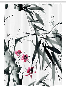 "Ambesonne Japanese Stall Shower Curtain, Natural Bamboo Stems Cherry Blossom Japanese Inspired Folk Print, Fabric Bathroom Decor Set with Hooks, 54"" X 78"", Dark Green Fuchsia"