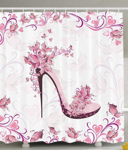 Ambesonne Pink and Purple Women Shoes with Roses and Hearts and Flying Butterflies, Polyester Fabric Bathroom Shower Curtain Set with Hooks