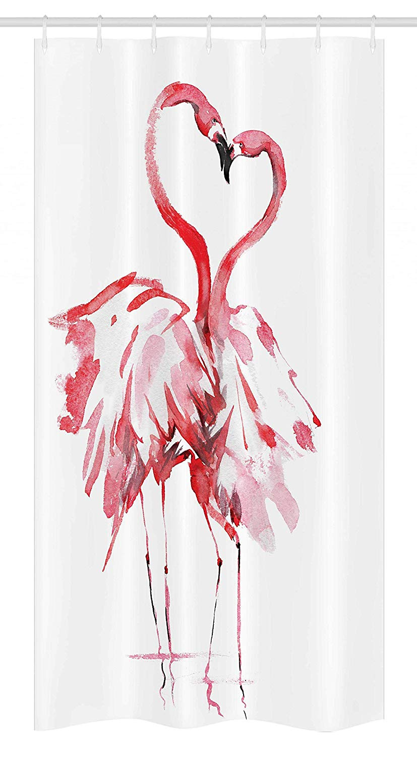 "Ambesonne Flamingo Stall Shower Curtain, Flamingo Couple Kissing Romance Passion Partners in Love Watercolor Effect, Fabric Bathroom Decor Set with Hooks, 36"" X 72"", Coral White"