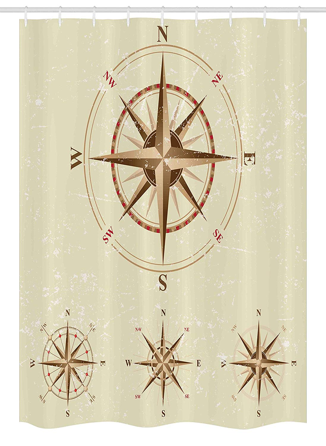 Ambesonne Compass Stall Shower Curtain, Four Different Compasses in Retro Colors Discovery Equipment Where Nautical Marine, Fabric Bathroom Decor Set with Hooks, 54 W x 78 L Inches, Beige Tan