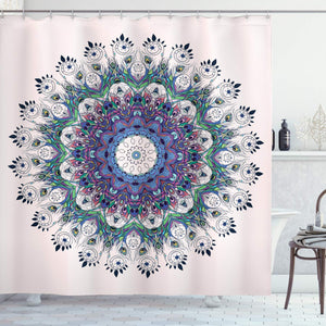 Ambesonne Peacock Feather Decor Collection, Bird Mandala Design Moroccan Motif, Polyester Fabric Bathroom Shower Curtain Set with Hooks, Rose Green Purple Blue
