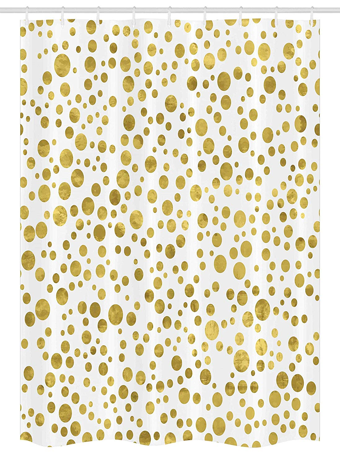 Ambesonne Polka Dots Stall Shower Curtain, Illustration of Round Speckled Forms in Irregular Layout Artistic Vintage Style, Fabric Bathroom Decor Set with Hooks, 54 W x 78 L inches, Gold White