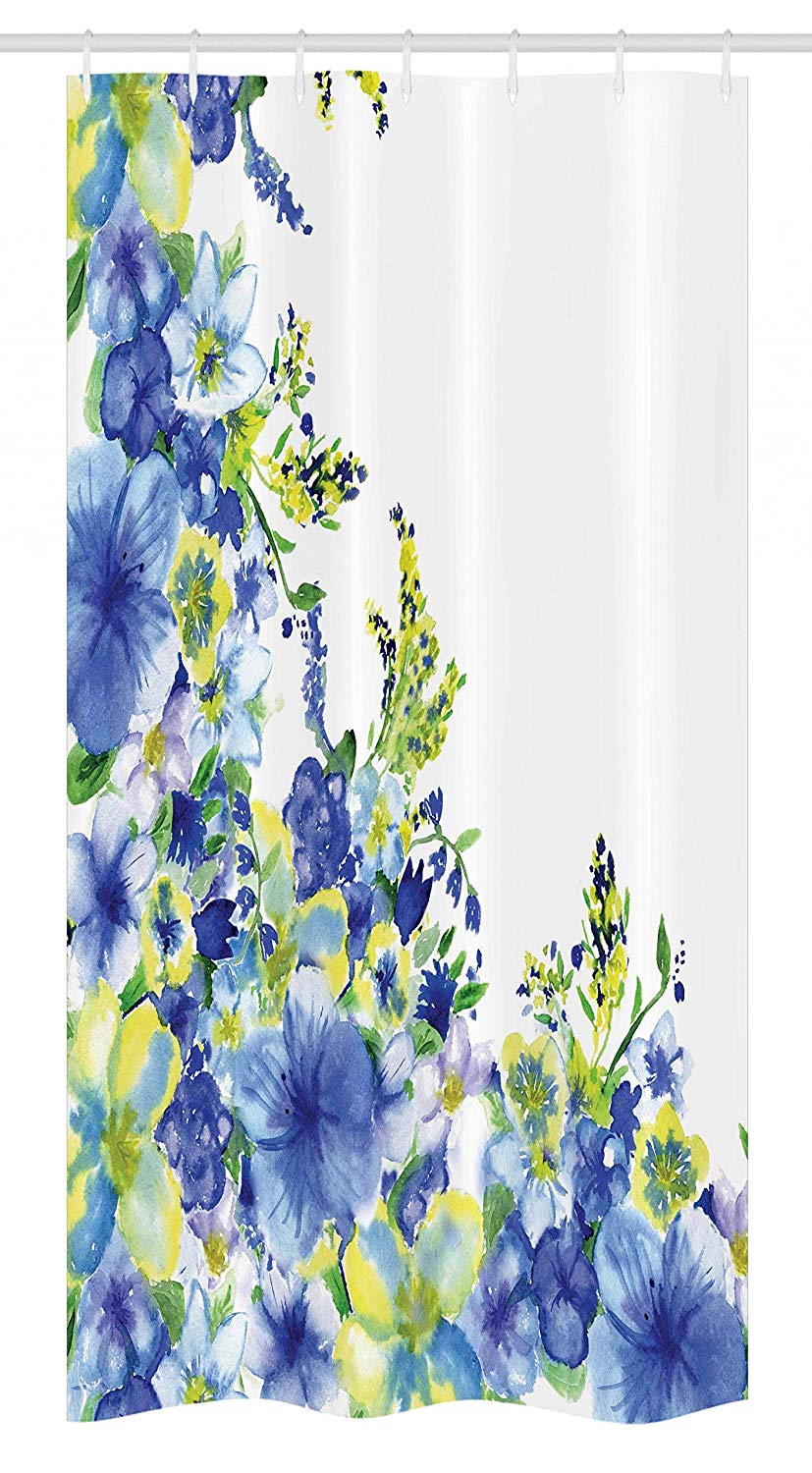 "Ambesonne Watercolor Flower Stall Shower Curtain, Motley Floret Motifs with Splash Anemone Iris Revival of Nature Theme, Fabric Bathroom Decor Set with Hooks, 36"" X 72"", Blue Yellow"