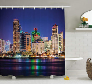 Ambesonne Apartment Decor Collection, Colorful Skyline San Diego at Night North San Diego Bay Boats Architecture Urban Picture, Polyester Fabric Bathroom Shower Curtain Set with Hooks, Navy