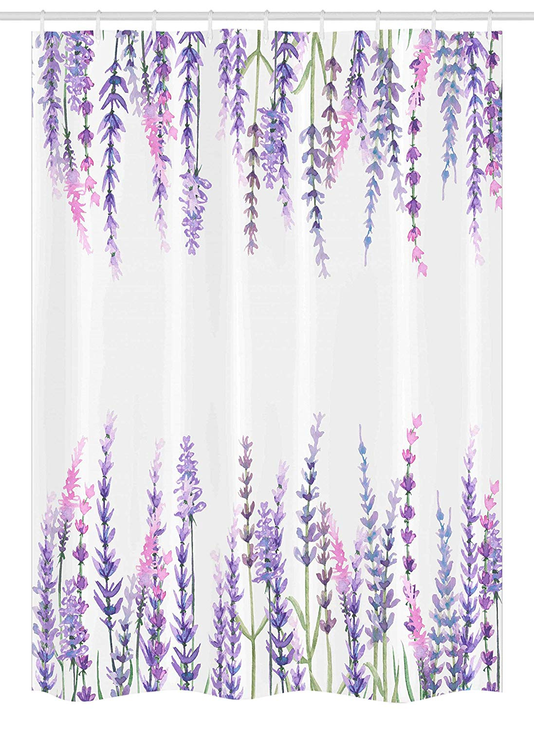 Ambesonne Purple Stall Shower Curtain, Lavender Plants Aromatic Evergreen Shrub of Mint Family Nature Oil Country Style Print, Fabric Bathroom Decor Set with Hooks, 54 W x 78 L Inches, Lilac