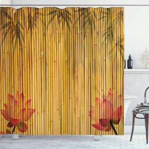 Ambesonne Bamboo House Decor Collection, Lined Up Bamboo Stems and Flower Silhouettes Shadow Eastern Tropical Exotic Image, Polyester Fabric Bathroom Shower Curtain Set with Hooks, Red Cream