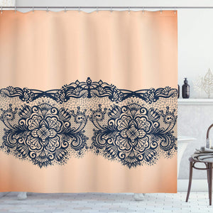 Ambesonne Abstract Shower Curtain, Lace Detailed Image with Orange Like Ombre Background with Floral Design, Fabric Bathroom Decor Set with Hooks, 70 Inches, Peach and Indigo