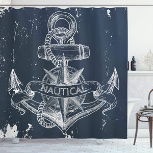 "Ambesonne Marine Shower Curtain, Nautical Knot Compass Anchor Pattern Sea World Ocean Life Grunge Illustration, Cloth Fabric Bathroom Decor Set with Hooks, 75"" Long, Blue White"