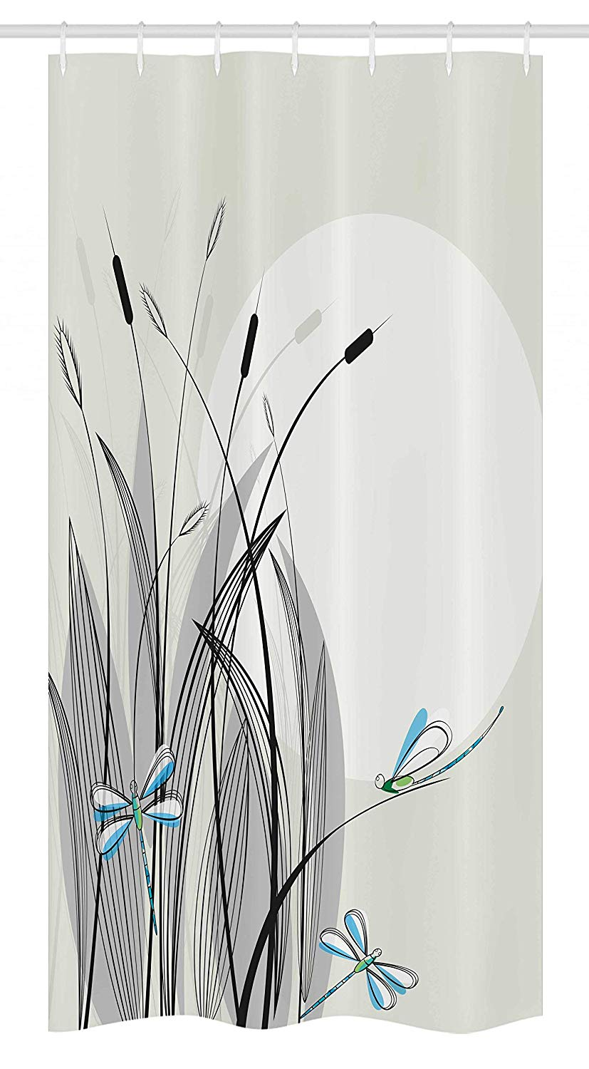 "Ambesonne Dragonfly Stall Shower Curtain, Dragonflies on Flowers and Branches Flourishing Nature Spring Time Predator Print, Fabric Bathroom Decor Set with Hooks, 36"" X 72"", Beige Black"