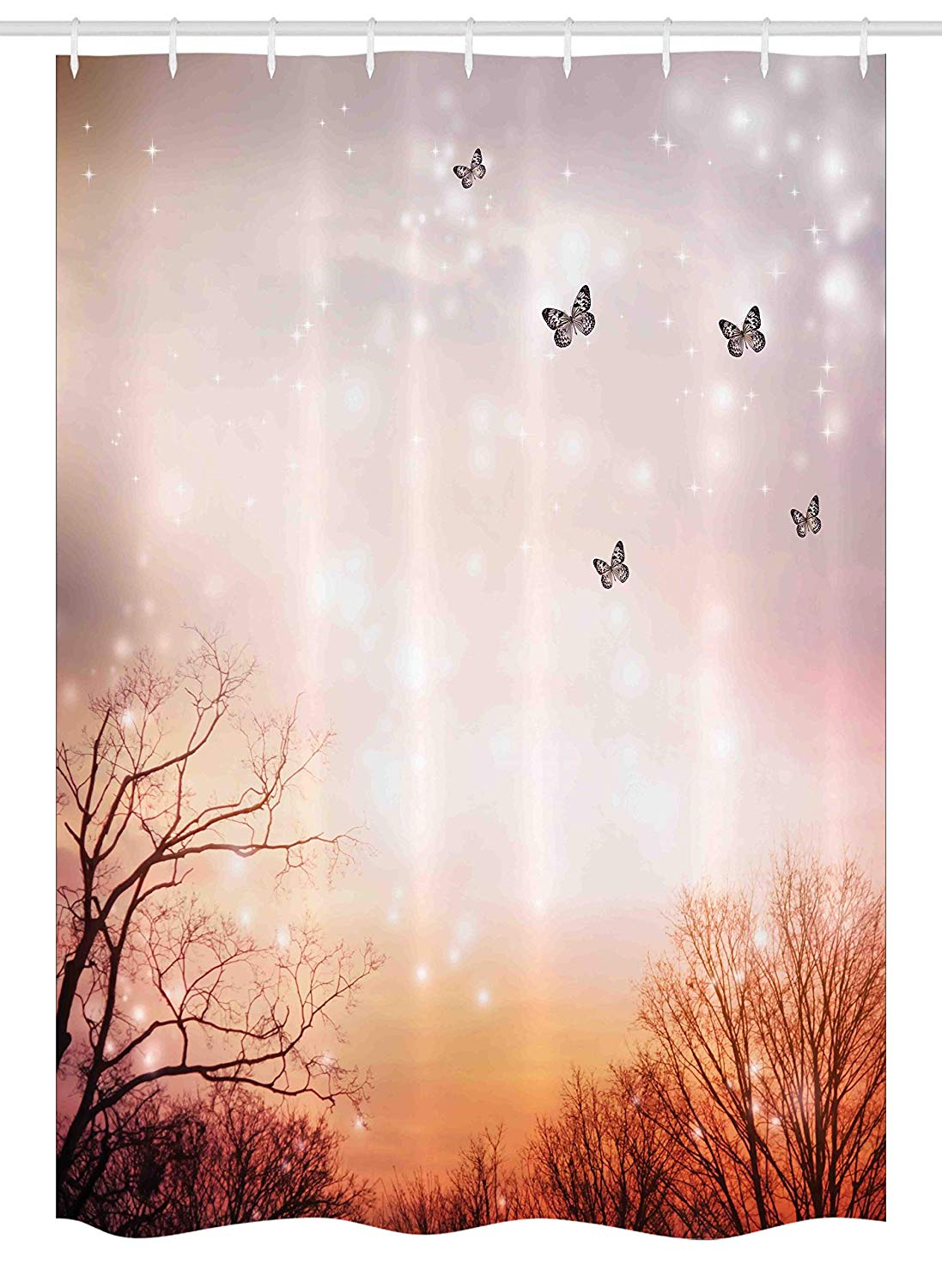 Ambesonne Butterfly Stall Shower Curtain, Dreamy Butterflies Over Trees Romantic Fantasy Blurry Sky Artistic Design, Fabric Bathroom Decor Set with Hooks, 54 W x 78 L Inches, Orange Baby Pink