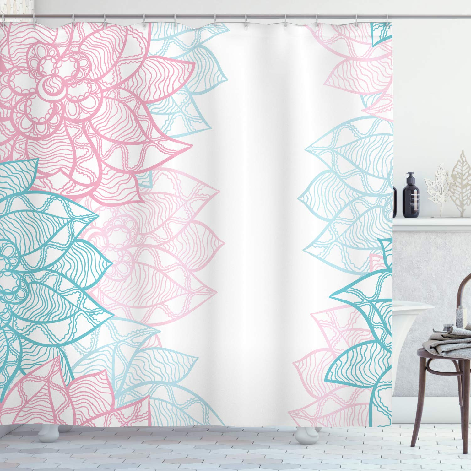 Ambesonne Floral Shower Curtain by, Large Flower Petal in Pastel Tone Elegance Spring Beauty Embellished Design, Fabric Bathroom Decor Set with Hooks, 70 Inches, Sky Blue Light Pink
