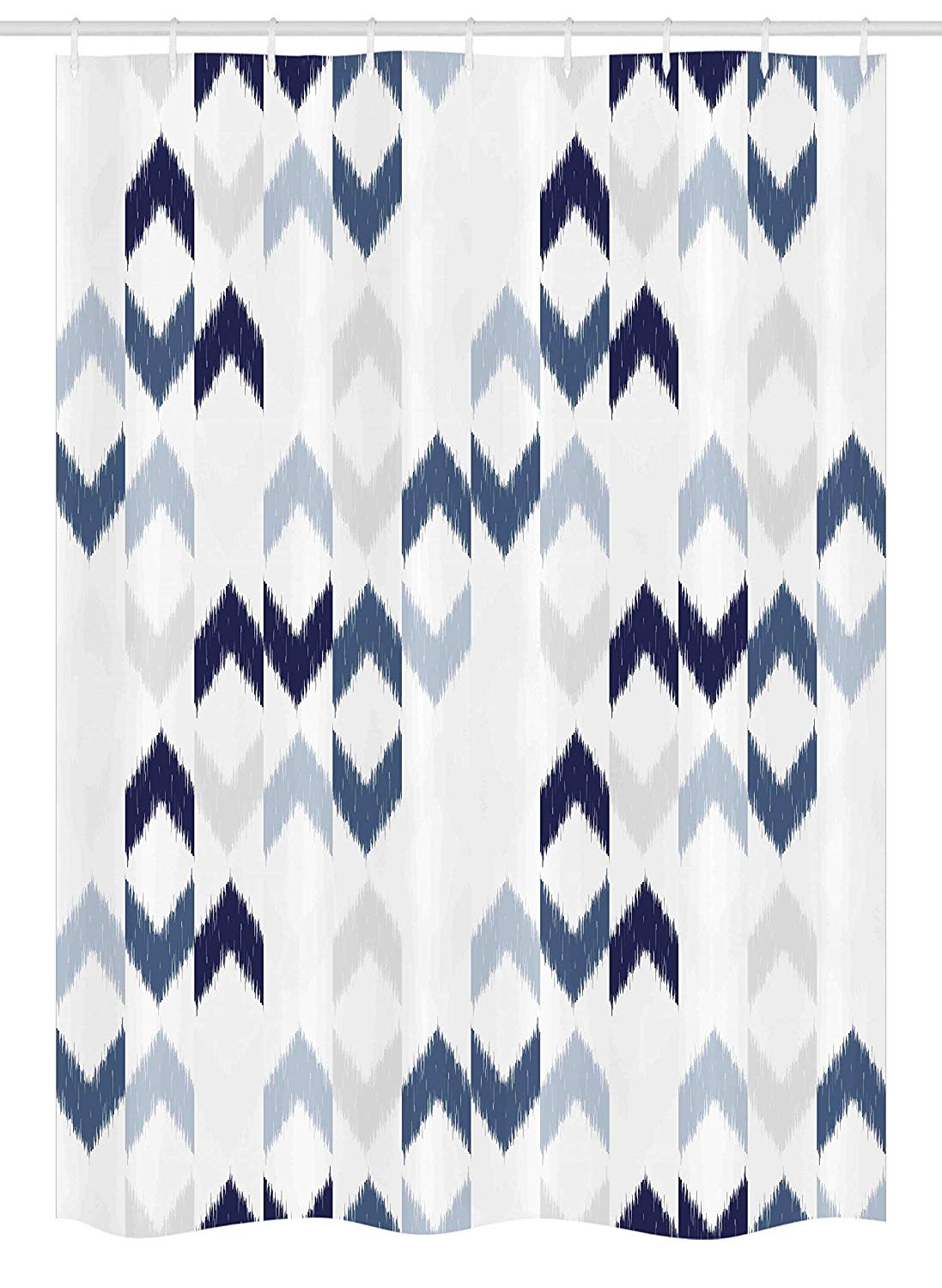 "Ambesonne Navy Stall Shower Curtain, Abstract Ikat Chevron with Hazy Zigzag Folk Traditional Image, Fabric Bathroom Decor Set with Hooks, 54"" X 78"", Blue Purple"