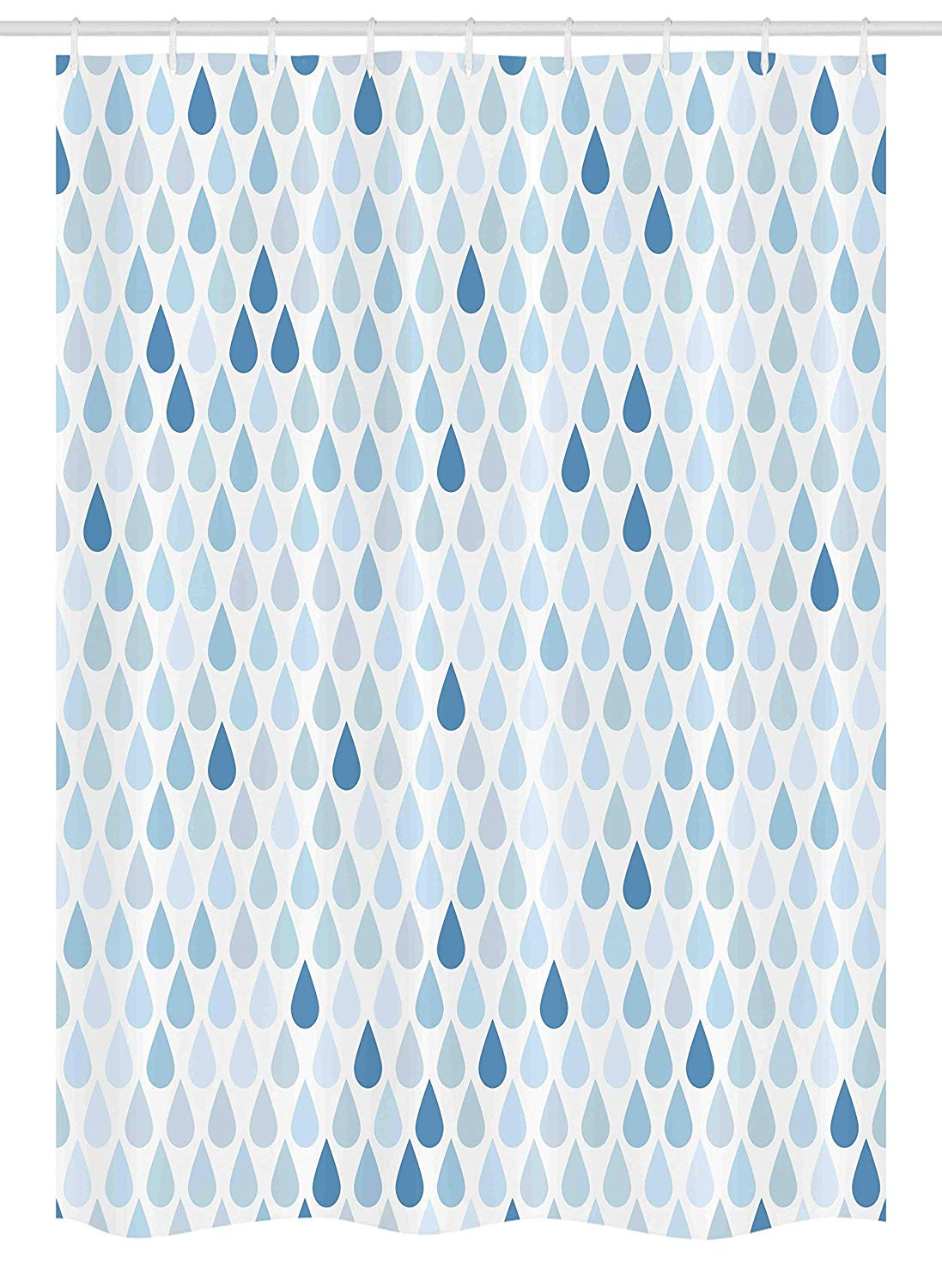 "Ambesonne Blue and White Stall Shower Curtain, Minimalist Rain Drops Motive in Tones Tears of Earth Air Gravity Image Art, Fabric Bathroom Decor Set with Hooks, 54"" X 78"", Light Blue"