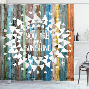 Ambesonne Rustic Decor Collection, Love Quotes You are My Sunshine on Wooden Planks Sun Lights, Polyester Fabric Bathroom Shower Curtain Set with Hooks, Orange White Green Yellow Blue