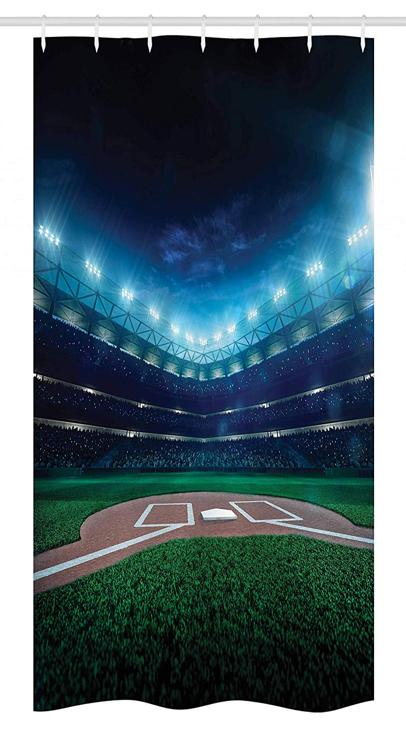 "Ambesonne Baseball Stall Shower Curtain, Professional Baseball Field at Night Vibrant Playground Stadium League Theme Print, Fabric Bathroom Decor Set with Hooks, 36"" X 72"", Green Blue"