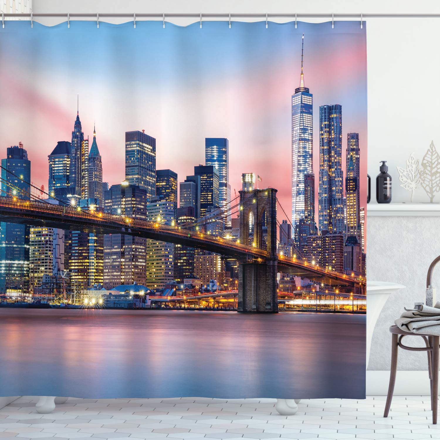 Ambesonne New York Shower Curtain, Brooklyn Bridge and Lower Manhattan Skyline Under Pink Sunrise Long Exposure Art Image, Fabric Bathroom Decor Set with Hooks, 84 Inches Extra Long, Blue Pink