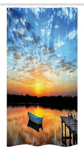 "Ambesonne Nautical Stall Shower Curtain, Little Fishing Boat on Pond Tranquil Sunrise Water Reflection Picture, Fabric Bathroom Decor Set with Hooks, 36"" X 72"", Sky Blue"