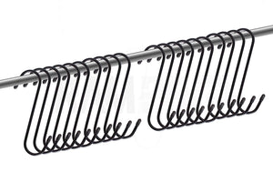"20pc Heavy-Duty 5"" Steel S-Hooks Rust-Resistant Black Oxide Finish Great for Hanging Plants, Closets, Garage & Storage"
