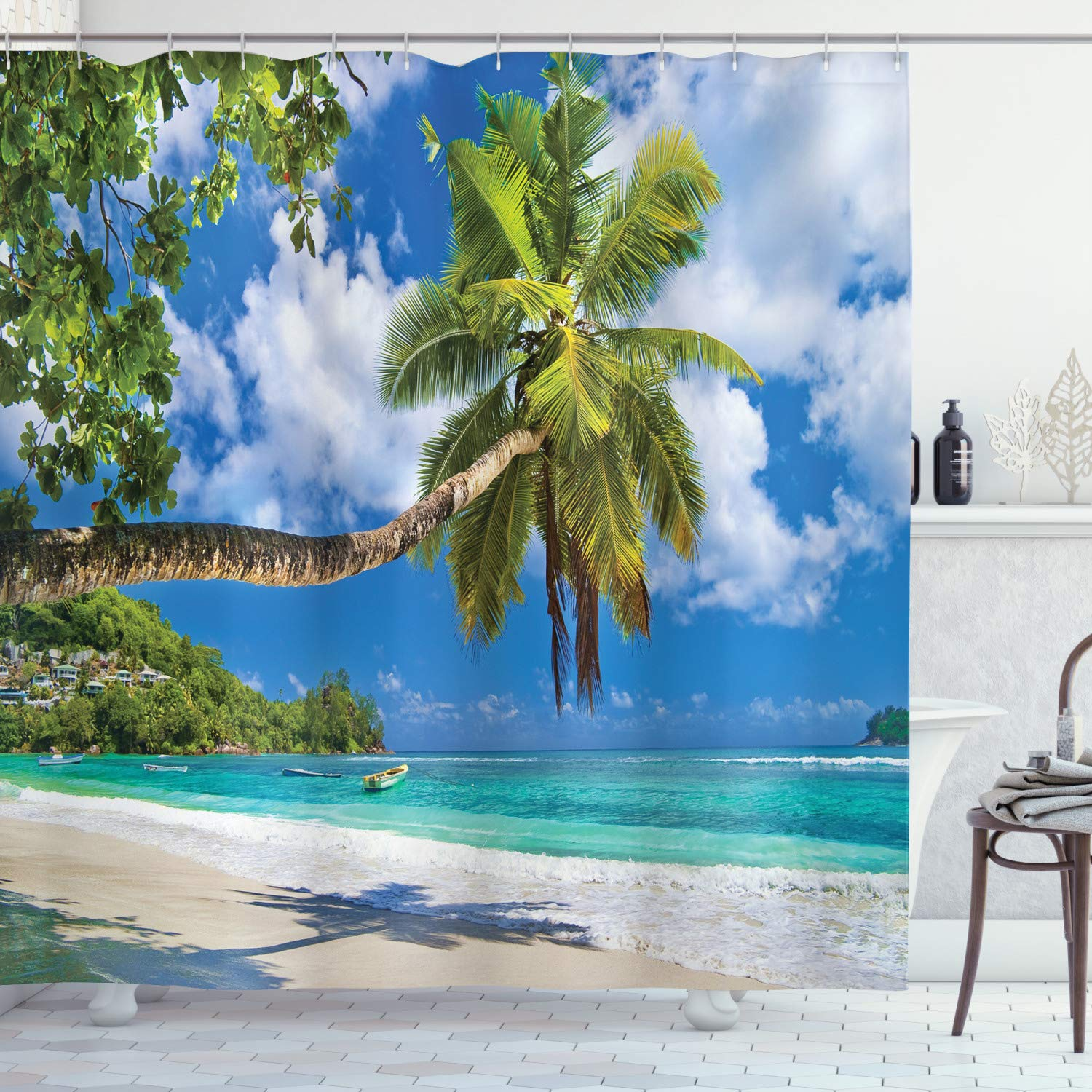 Ambesonne Tropical Seascape Nautical Decor Collection, Ocean Sand Wooden Windows View Beach Picture Theme Artwork Travel Paradise, Polyester Fabric Bathroom Shower Curtain Set with Hooks