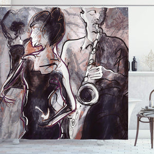 Ambesonne Jazz Music Decor Shower Curtain, Illustration of Jazz Man Playing The Saxophone with Dancers Classic Home Decor, Bathroom Set with Hooks, 75 Inches Long, Brown Mauve