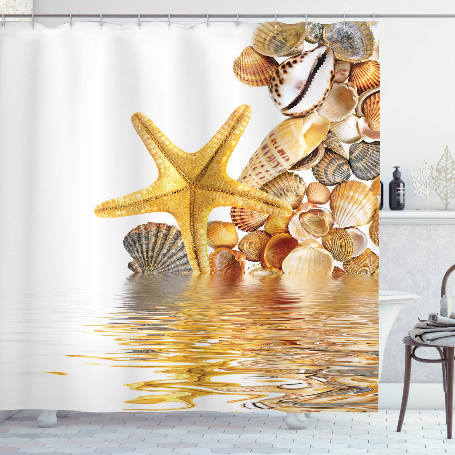 Ambesonne Seashells Shower Curtain, Shells and Starfish Reflection Water Golden Yellow Spa Clear Beach Theme, Fabric Bathroom Decor Set with Hooks, 70 Inches, Earth Yellow Cream
