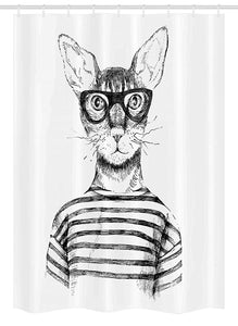 "Ambesonne Cat Stall Shower Curtain, Hand Drawn Dressed up Hipster New Age Cat Fashion Urban Free Spirit Artwork Print, Fabric Bathroom Decor Set with Hooks, 54"" X 78"", Gray White"