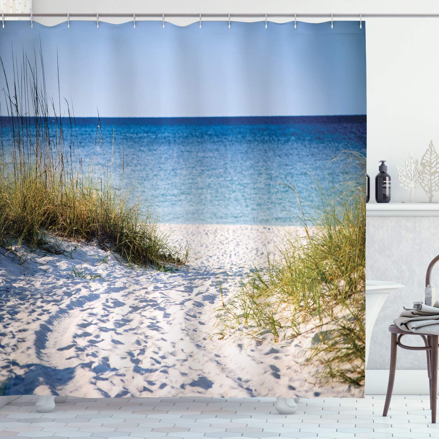 Ambesonne Seaside Decor Collection, Path to the Beach Clear Sky Bushes Grasses Windy Sunny Day Peaceful Gulf of Mexico Picture, Polyester Fabric Bathroom Shower Curtain Set with Hooks, Navy Blue