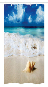 Ambesonne Seashells Stall Shower Curtain, Nautical Picture of Sunny Sandy Coastline Caribbean Ocean with Waves, Fabric Bathroom Decor Set with Hooks, 36 W x 72 L Inches, Sand Brown Aqua Blue