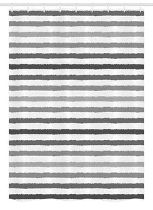 Ambesonne Striped Stall Shower Curtain, Gray and White Stripes Monochrome Tone Brush Style Lines Grunge Retro Digital Print, Fabric Bathroom Decor Set with Hooks, 54 W x 78 L Inches, White Grey