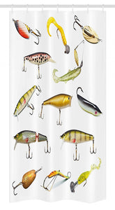 "Ambesonne Fishing Stall Shower Curtain, Fishing Tackle Bait for Spearing Trapping Catching Aquatic Animals Molluscs Design, Fabric Bathroom Decor Set with Hooks, 36"" X 72"", White and Yellow"