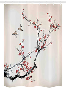 "Ambesonne Nature Stall Shower Curtain, Cherry Branches Flowers Buds and Birds Style Artwork with Painting Effect, Fabric Bathroom Decor Set with Hooks, 54"" X 78"", Black Burgundy"
