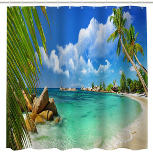BROSHAN Tropical Beach Decor Shower Curtain Fabric,Hawaiian Palm Tree Ocean Coastal Beach Seaside Scenic Art Print Bathroom Curtain,Polyester Waterproof Fabric Bath Accessories with Hooks,72x72 Inch