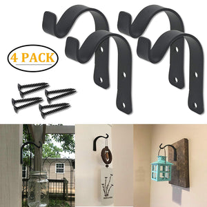 4 Pack Wrought Iron Hooks Coat Towel Hooks Hanger Rustic Vintage Style Home Décor Wall Mounted Bracket (4 Pack) by OVOV