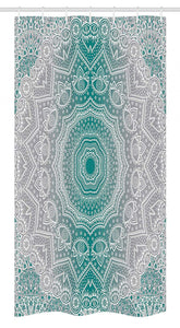 "Ambesonne Grey and Teal Stall Shower Curtain, Mandala Ombre Geometry Occult Pattern with Flower Lines Display Artwork, Fabric Bathroom Decor Set with Hooks, 36"" X 72"", Teal Grey"
