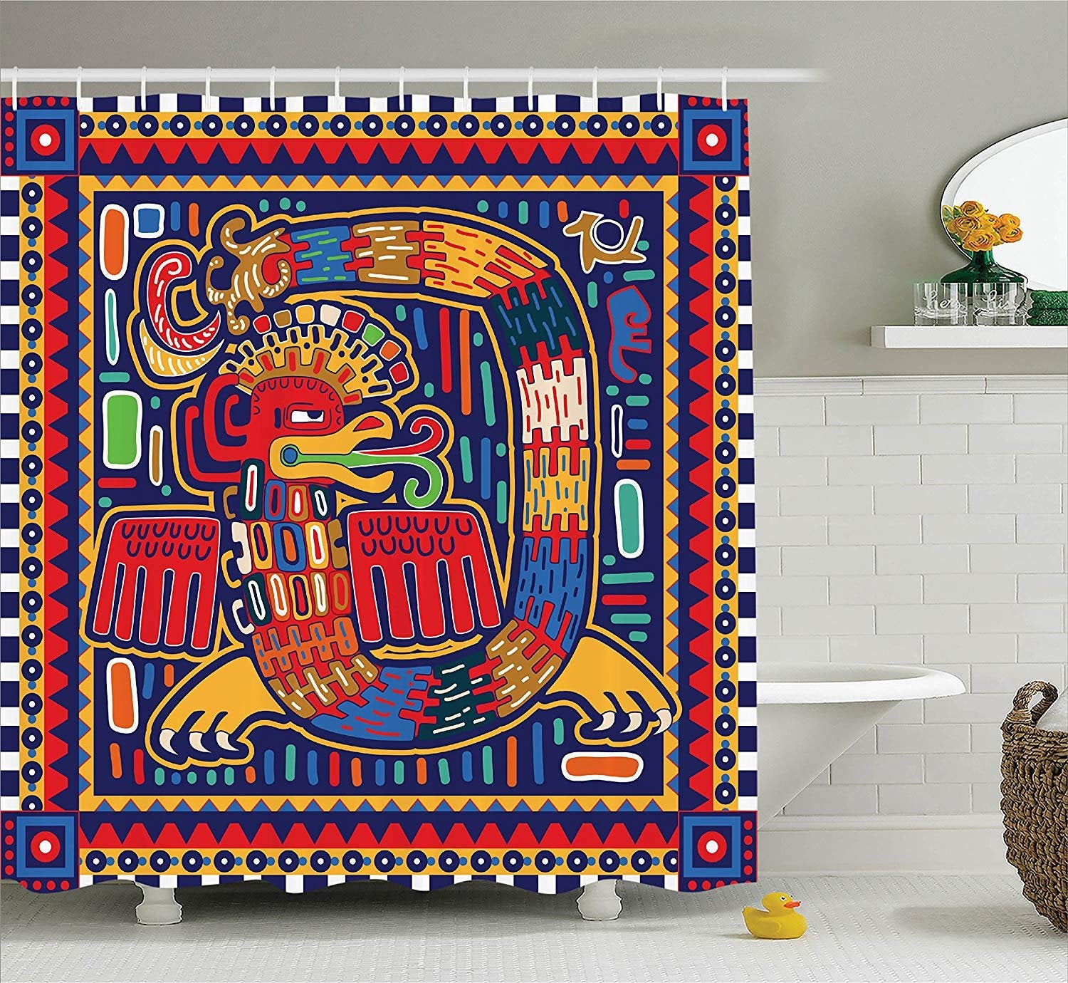 """Ambesonne Mexican Shower Curtain, Aztec Culture Pattern Ethnic Colorful Mythology Artwork Ancient Snake, Fabric Bathroom Decor Set with Hooks, 75 Inches Long, Indigo Mustard Orange"""