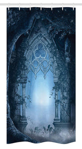"Ambesonne Fantasy Stall Shower Curtain, Passage Doorway Through Enchanted Foggy Palace Garden at Night View, Fabric Bathroom Decor Set with Hooks, 36"" X 72"", Navy Gray"