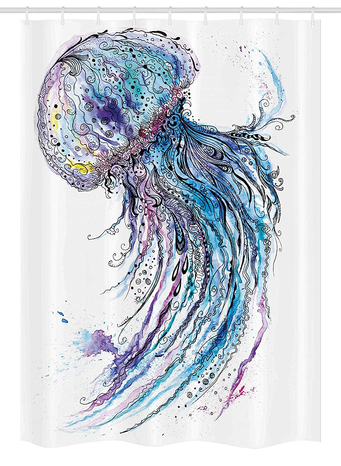 "Ambesonne Jellyfish Stall Shower Curtain, Aqua Colors Art Ocean Animal Print Sketch Style Creative Sea Marine Theme, Fabric Bathroom Decor Set with Hooks, 54"" X 78"", Blue Purple White"