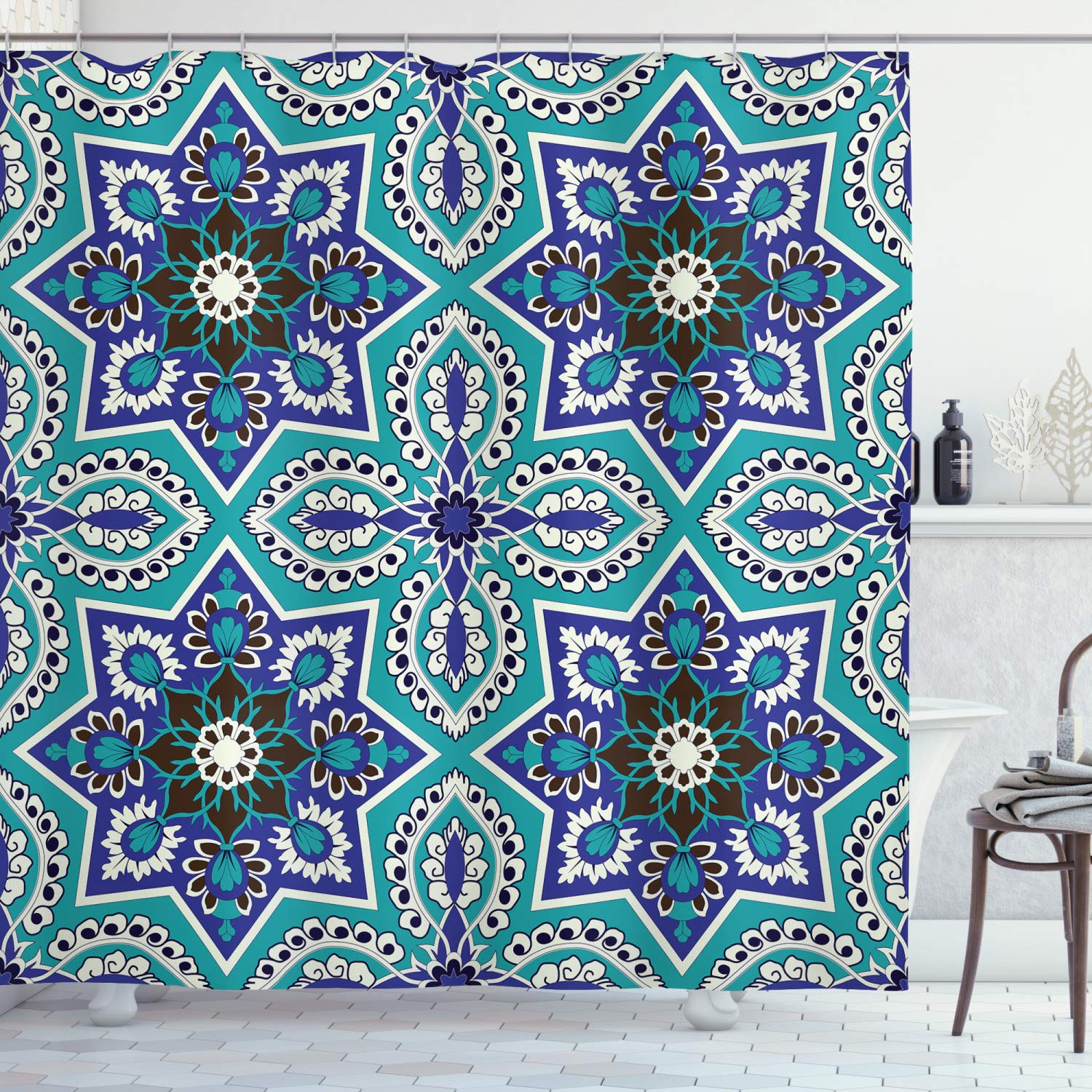 Arabian Shower Curtain by Ambesonne, Arabesque Pattern Tradicional Art Design Geometry Persian Damask Inspired Design, Fabric Bathroom Decor Set with Hooks, 70 Inches, Turquoise