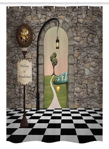 Ambesonne Alice in Wonderland Stall Shower Curtain, Welcome Wonderland Black and White Floor Landscape Mushroom Lantern, Fabric Bathroom Decor Set with Hooks, 54 W x 78 L Inches, Multicolor