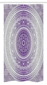 "Ambesonne Grey and Purple Stall Shower Curtain, Eastern Traditional of Cosmos Pattern Boho Ombre Mandala Design Print, Fabric Bathroom Decor Set with Hooks, 36"" X 72"", Purple White"