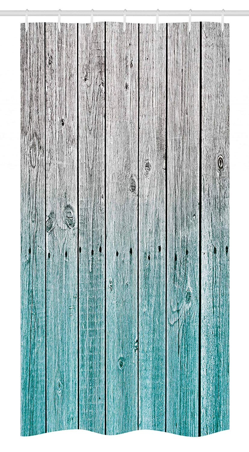 "Ambesonne Rustic Stall Shower Curtain, Wood Panels Background with Digital Tones Effect Country House Art Image, Fabric Bathroom Decor Set with Hooks, 36"" X 72"", Teal Grey"