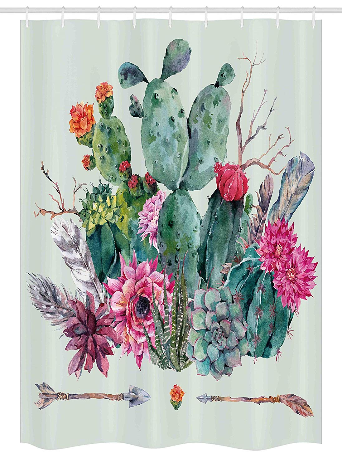 "Ambesonne Cactus Stall Shower Curtain, Spring Garden with Boho Style Bouquet of Thorny Plants Blossoms Arrows Feathers, Fabric Bathroom Decor Set with Hooks, 54"" X 78"", White Pearl"