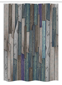 "Ambesonne Rustic Stall Shower Curtain, Image of Blue Grey Grunge Wood Planks Barn House Door Nails Country Life Theme Print, Fabric Bathroom Decor Set with Hooks, 54"" X 78"", Grey Blue"
